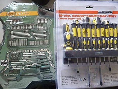 Mannesmann M98430 juego de llaves de 0,6 cm + 0,95 cm + 1,27 cm/(1,27 cm) tracción 215 componente + Mannesmann M11410 destornilladores 18 componente: Amazon.es: Bricolaje y herramientas