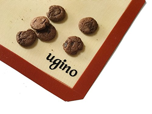 UGINO Silicone Baking Mat Half Sheet - For Baking Cookies/Macaron, Rolling Out Dough and Healthy Cooking - Nonstick, Microwave-Friendly, BPA-Free Mats/Sheets