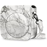 Fintie Protective Case for Fujifilm Instax Mini 8 Mini 8+ Mini 9 Instant Camera - Premium Vegan Leather Bag Cover with Removable Strap, Marble