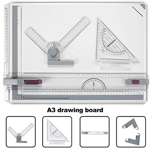 Bathwa A3 - Tablero de dibujo multifuncion de plastico, 49 x 35,5 cm, con movimiento paralelo, angulo ajustable, sistema de medicion metrico para trabajos profesionales