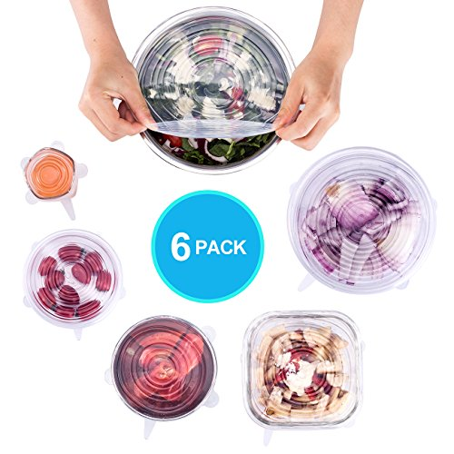 Silicone Stretch Lids, reusable food cover can be hung with 6-Pack of Various Sizes by RBIDELI