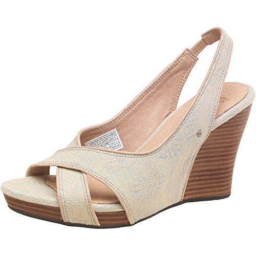 Flirty Wardrobe Jeans Wedge Sandals Ugg Uni Taupe pour femme