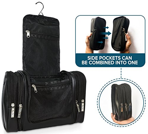 Leather Hanging Travel Toiletry Bag for Men for Your Toiletries & Shaving Essentials - 4 Sizes in 1 w/TSA Approved Travel Bottles or Mens Cosmetic Kit
