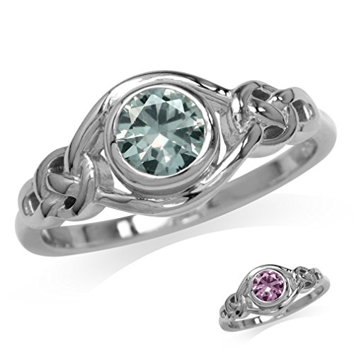 Silvershake Simulated Color Change Alexandrite White Gold Plated 925 Sterling Silver Celtic Knot Ring