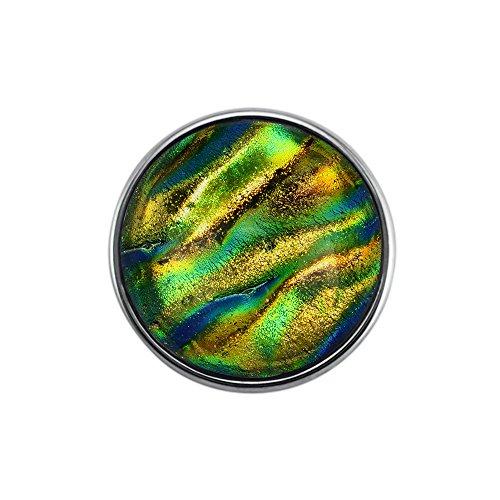 Quiges, Eligo Bijoux plaqué argent 18mm en verre vert bouton-pression pour Quiges, Eligo 18mm accrochage Bracelets Button