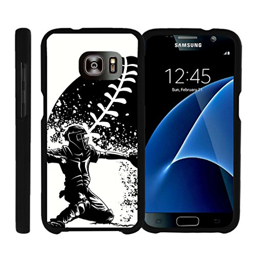 Spot Light Action Art - MINITURTLE Case Compatible w/ [Samsung Galaxy S7] Case, Personalized Perfect Fit Snap on Cell Case Baseball Galaxy S7 Case Catcher in Action