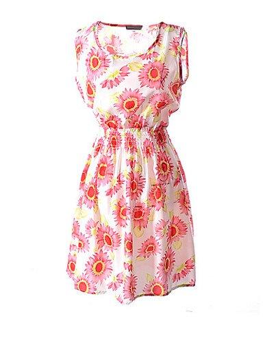 PU&PU Robe Aux femmes Ample Simple,Fleur Col Arrondi Au dessus du genou Polyester , fuchsia-2xl , fuchsia-2xl