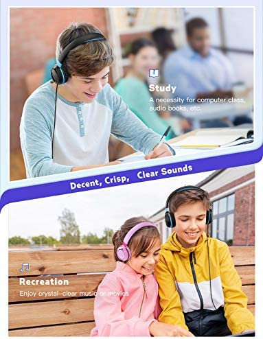 Mpow CHE1 Kids Headphones Boys, Wired Headphones For Kids Teens Children With Volume Limit 94dB, Foldable Adjustable On Ear Headphones For School, Travel, Compatible With Cellphones, Tablets, PC