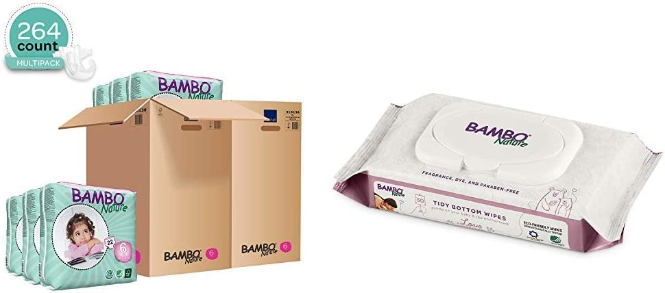 Bambo Nature Baby Diapers Classic, Off-White, Size 6, 264 Count (2 Cases of 132) with Bambo Nature Tidy Bottoms Baby Wipes 1200 Sheets (24 Packs of 50)
