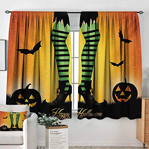 Mozenou Halloween Thermal Insulating Blackout Curtain Cartoon Witch Legs with Striped Leggings Western Concept Bats and Pumpkins Print Customized Curtains 63