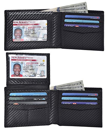(Traversible Leather Wallets for Men - RFID Blocking Bifold Travel Wallet with Extra Capacity (01 Black Carbon Full))