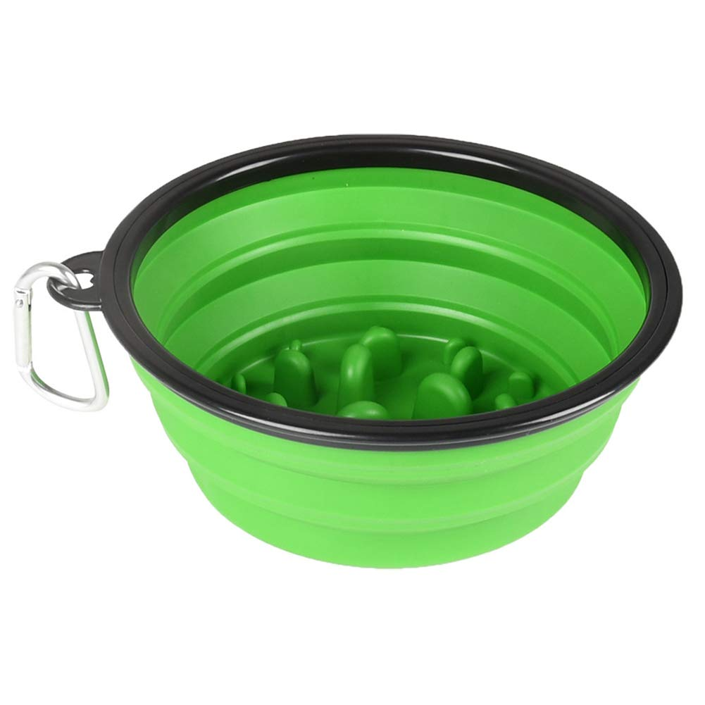 Dog Bowl Pet Water Bowl Pet Slow Food Bowl Outdoor Portable Dog Anti-mite Folding Silicone Feeding Bowl,Green