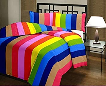 JaipurCrafts 220 TC Striped Colourful Reversible Poly Cotton Single Bed AC Comfort (54x84-inch, Rainbow)