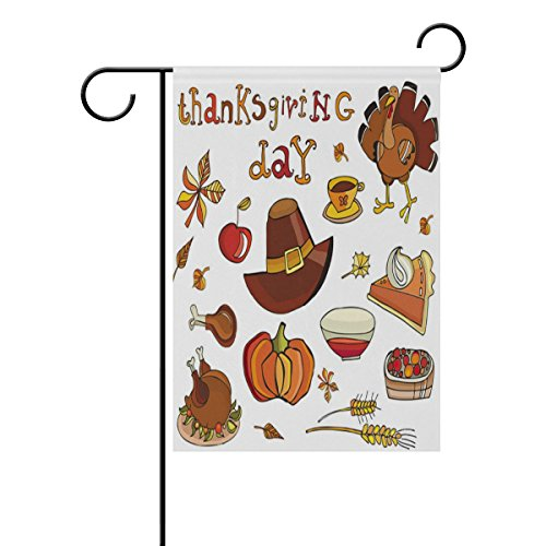 Top Carpenter Thanksgiving Day Icon Set Double-Sided Printed Garden House Sports Flag - 28x40(in) - 100% Premium Polyester Decorative Flags for Courtyard Garden Flowerpot