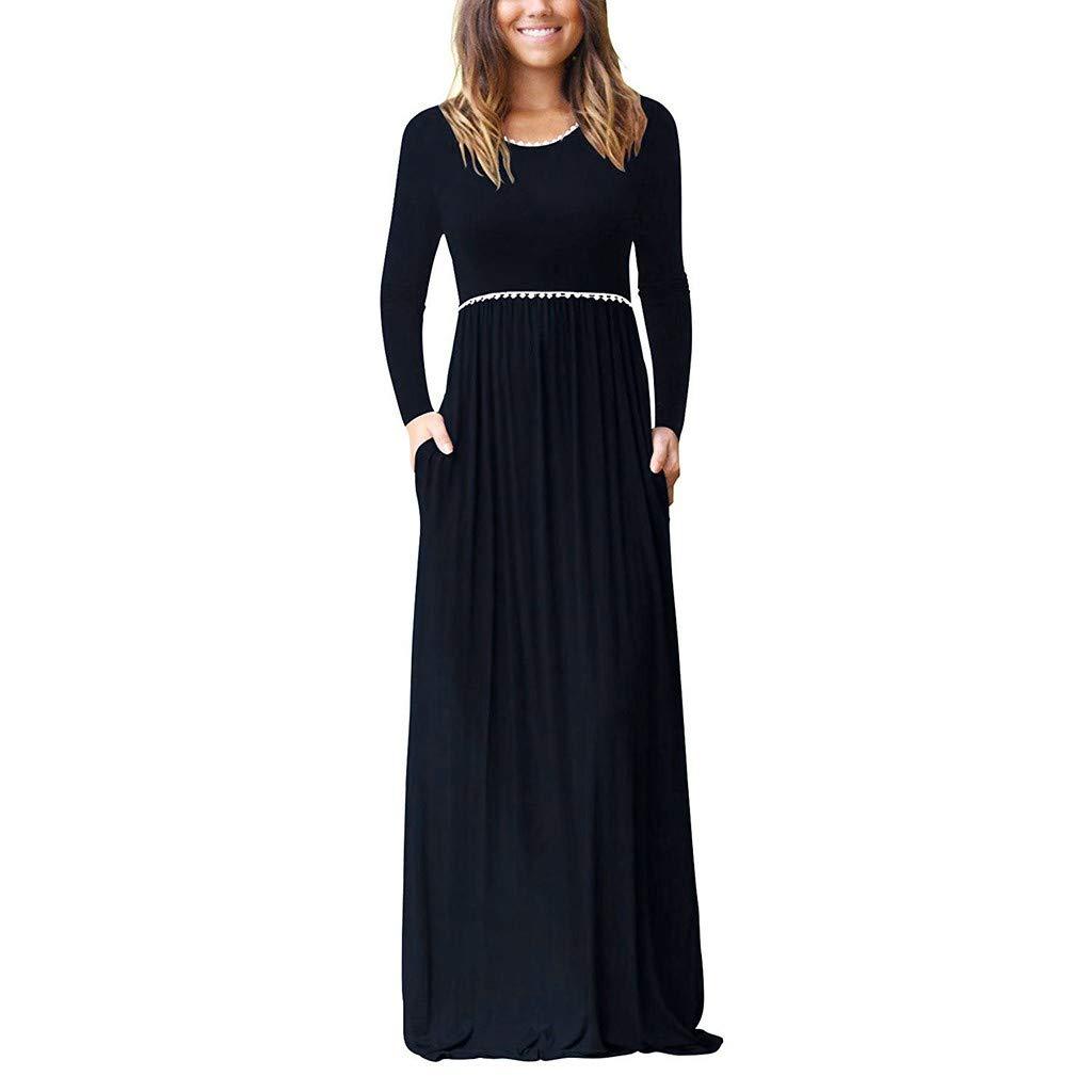 IEasⓄn Women Dress Fashion High Waist Casual Long Sleeve Lace Loose Maxi Long Dress with Pocket Navy by IEasⓄn