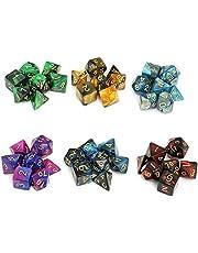 Moncolis 6 x 7 (42 stuks) Polyedrische dobbelstenen set met zakje dubbele kleuren polyedrische speelkubus voor Dungeons and Dragons DND RPG MTG W20 W12 W10 W8 W6 W4 tafelkaartspellen