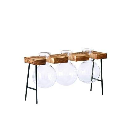 Amazon.com: Creative Hydroponic Plant Transparent Vase Wooden Frame Coffee Shop  Room Decor: Home Audio U0026 Theater