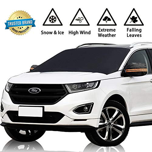 GD6 Windshield Cover Snow Magnetic Shade Ice Frost Rain Resistant, Waterproof Windproof Outdoor Car Covers,Fits Windshields of Various Sizes