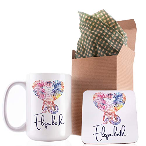 Personalized Coffee Mug Gifts Rainbow Elephant with Your Nam