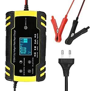 KKmoon Cargador de Batería Coche, 8A 12V/24V Automático Inteligente 3-Stage Cargador con Pantalla LCD