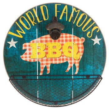 World Famous BBQ Bottle Opener Wall Decor with Basket ( pig )