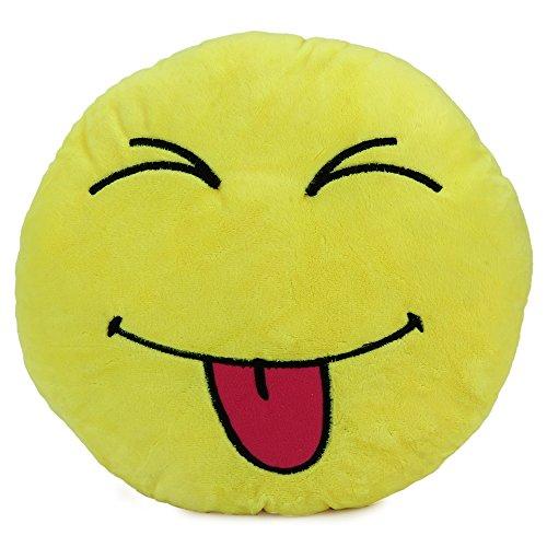 33cm Emoji Smiley Emotion Round Throw Pillow Stuffed Plush Soft Toy - 1
