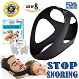2018 Original Anti Snoring Chin Strap and Nose Vents, Sleep Aids, Snore Therapy and Stopper, CPAP Snoring Solution for men and women by Dr. EZleep | FREE eBook, Travel Bag and Container Included