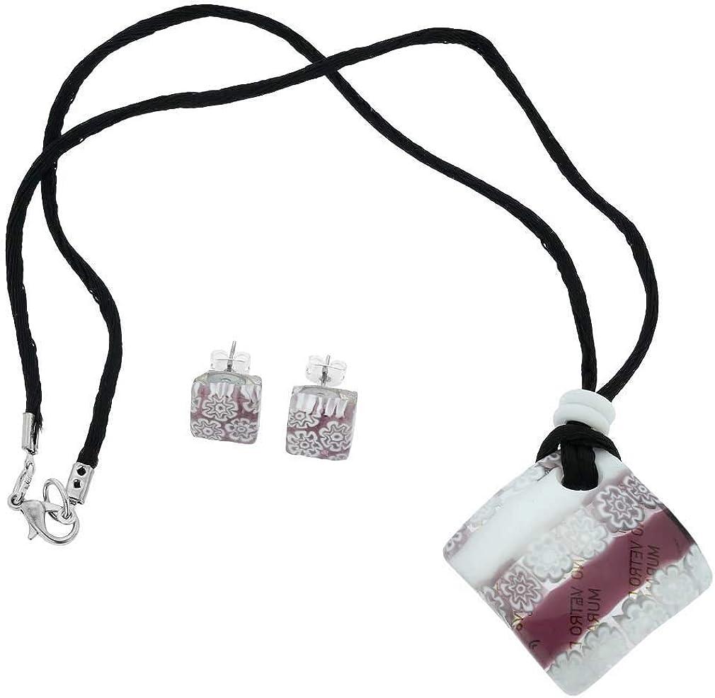 GlassOfVenice Millefiori - Juego de Collar y Pendientes de Cristal de Murano, Color Blanco y Morado