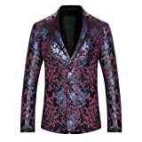 Wenliu Men's Blazer Print Slim Fit Prom Dress Party Leisure Jackets Burgundy XL