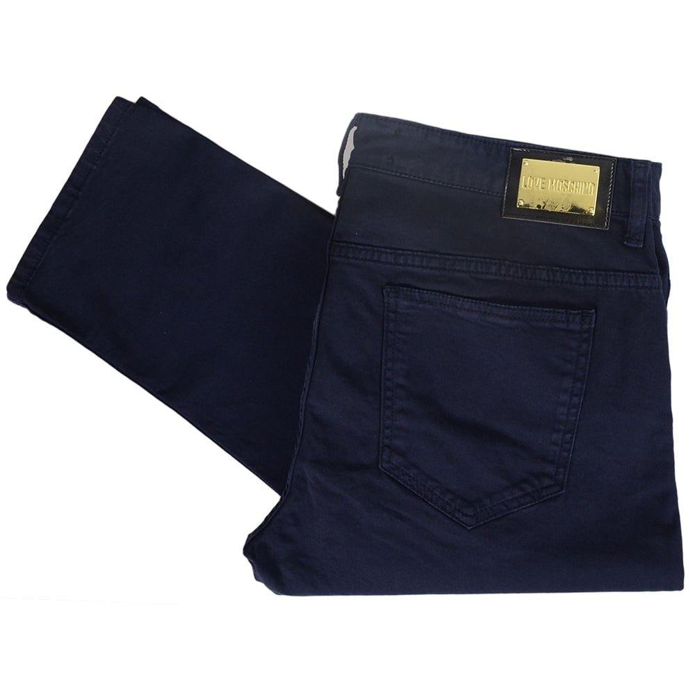 MOSCHINO MQ4218NS3054 Love Dark Wash Slim Fit Navy Jeans W30 - L34 Dark Wash