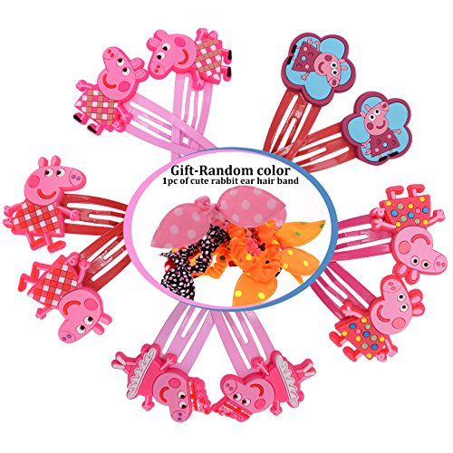 iNewcow Hairpin for Peppa Pig Hair Accessories for Girls Clips Bows Children Headwear (5 Matching Pairs)