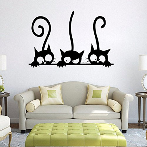 - Denpetec Artwork Removable Wallstickers, Three Cat Pattern Cartoon Wall Stickers Art Decal for Baby Kids Children Nursery Bedroom Living Room Home Decor Funny Decal Wallpaper ()