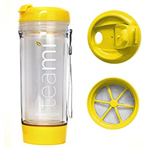 FRUIT INFUSER Water Bottle Tumbler with a Lid | 100% BPA FREE | Our Best Infusion Bottles for Infused Fruit, Smoothies, Tea, and Coffee | Double Walled Mug, Hot & Cold (13.5 Ounces, Yellow)