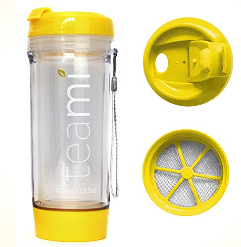 Bottle Tumbler with a Lid | 100% BPA FREE | Our Best Infusion Bottles for Infused Fruit, Smoothies, Tea, and Coffee | Double Walled Mug, Hot & Cold (13.5 Ounces, Yellow) (Good Old Times Mug)