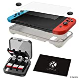 CamKix Compatible Storage and Protection Kit Replacement for Nintendo Switch: Silicone TPU Cover, Anti Scratch Screen Protector, Storage Case for 24 Game Cards, Thumb Grip Covers, Cleaning Cloth
