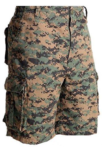 Bellawjace Clothing Woodland Digital Camo Military Vintage Army Paratrooper Shorts Cargo Shorts