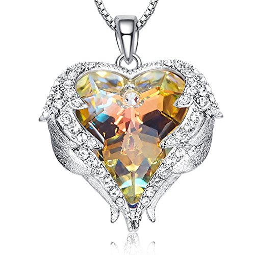 Guardian Wings Topaz Heart Necklace - Freedom Angel Wings White Gold Birthstone Necklace Pendant Topaz Crystal for Women