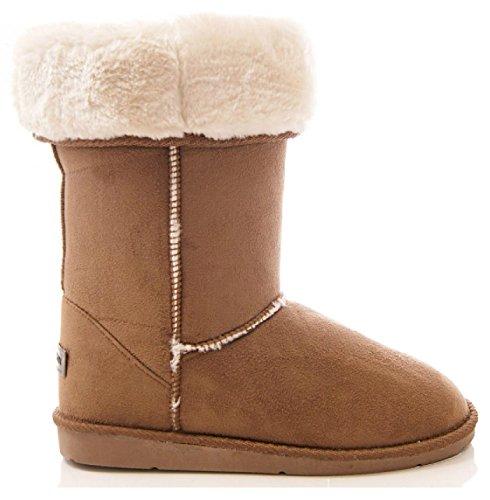 Femmes Mi-Mollet chaud hiver doublé fourrure Snugg Hug prise SEMELLE pointure de bottes 3-8 - Chataîgne, EU 37