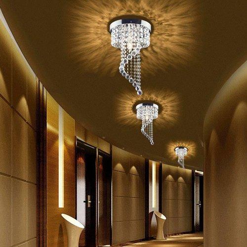 Surpars House Flush Mount 1-Light Crystal Chandelier Silver Pendant Light by Surpars House (Image #3)
