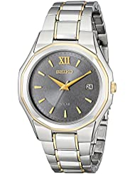 Seiko Mens SNE166 Classic Solar-Powered Two-Tone Stainless Steel Watch with Link Bracelet