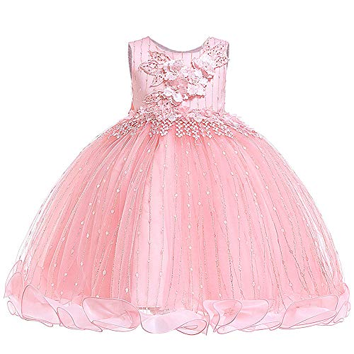 Girl Sleeveless Dress Embroidery Princess Lace Party Dresses Kids Ball Gown - Princess Pink 3-4 Years
