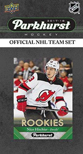 New Jersey Devils 2017 2018 Upper Deck PARKHURST Series Factory Sealed Team Set including Adam Henrique, Cory Schneider, Rookie Card of #1 Draft Pick Nico Hischier Plus