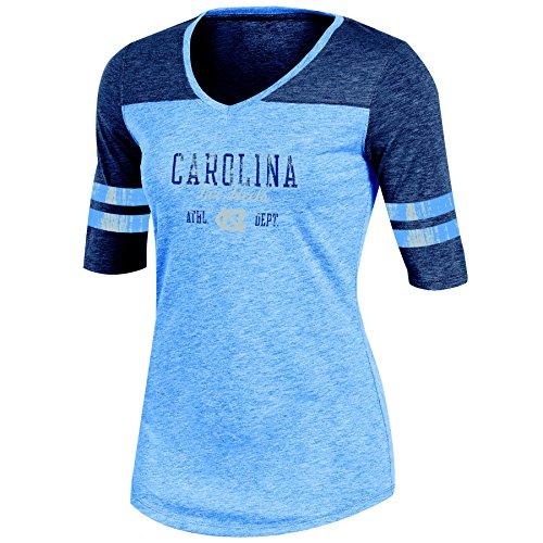 NCAA North Carolina Tar Heels Adult Women Half sleeve V Neck Tunic, X-Large, Blue Heather