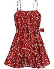 ZAFUL Mini Robe Chevauchement des Volants A-Ligne (Rouge, L)