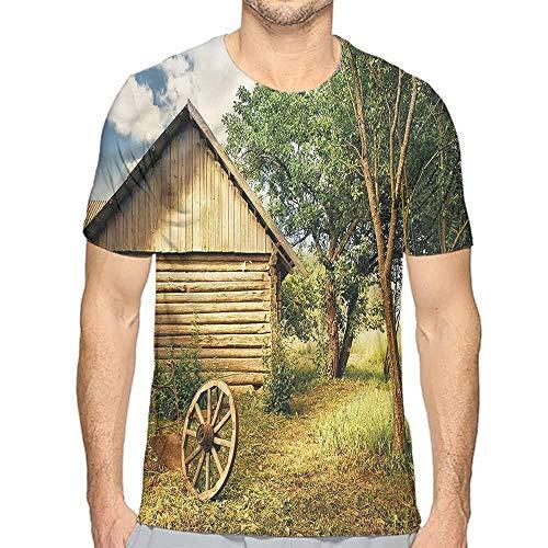 t Shirt Printer Rural,Log Cabin in Forest Wheel Junior t Shirt XXL ()