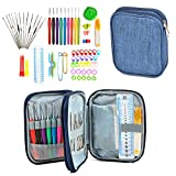 Crochet Hooks Set with Case, 72PCS Full Set Knitting Needle Weave Yarn Kit Ergonomic Handle Weaving Accessories for Beginners Experienced Crocheters Blue