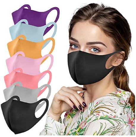 7PC Adult Face_Mask Reusable Ice Silk_Cotton ͟M͟A͟S͟Ok͟ Breathable Dust_proof Face Shield for Outdoor Coronàvịrụs Protectịon (Multicolor)