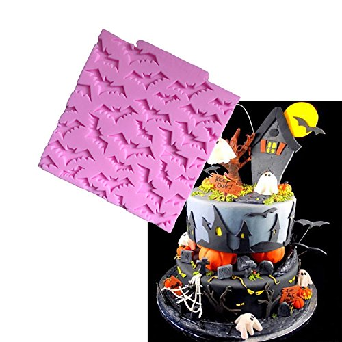 Witkey Halloween Bats Shape Silicone Mold Fondant Cake Forms Decoration Molds Chocolate Pastry Candy Mould Kitchen Baking Cookie Mould Soap Decorating Molds