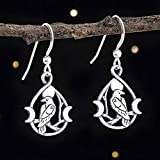 Sterling Silver Raven and Triple Moon Earrings - Small, Double-Sided - Solid .925 Sterling Silver, Ready to Ship