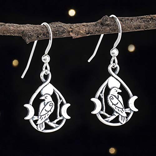 (Sterling Silver Raven and Triple Moon Earrings - Small, Double-Sided - Solid .925 Sterling Silver, Ready to Ship )